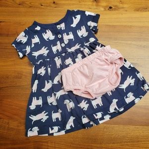 Navy baby girl play dress with dog print
